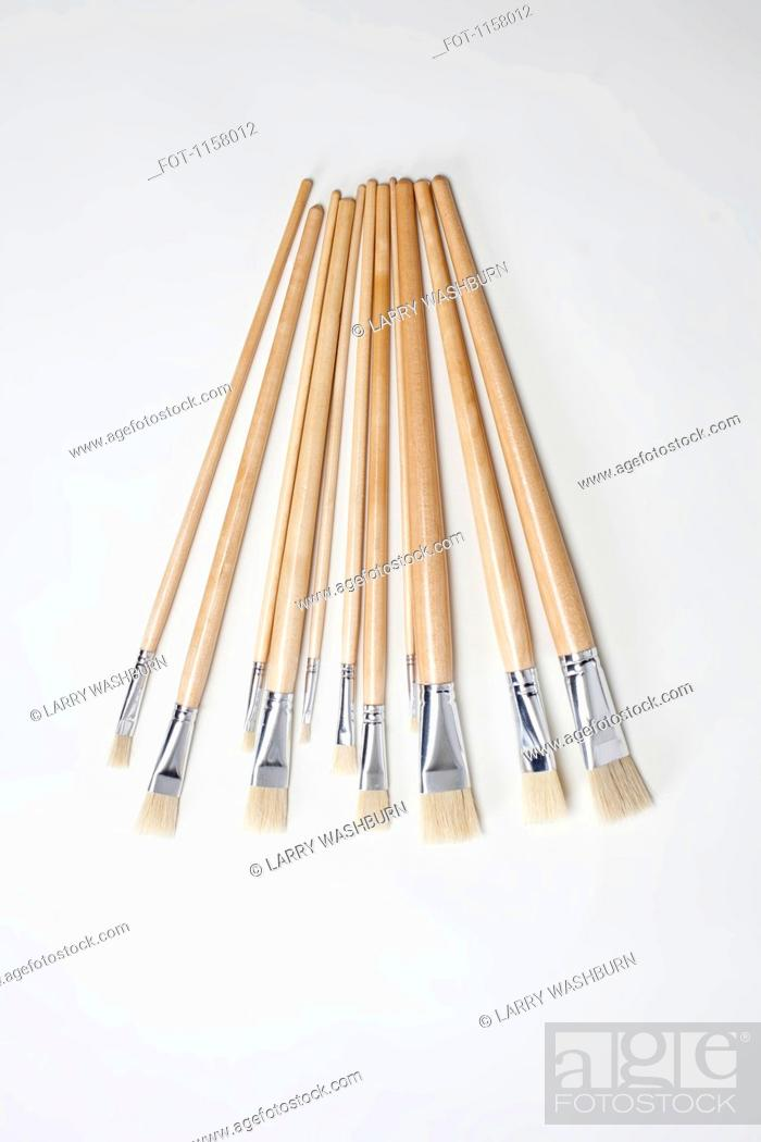 Stock Photo: A group of various clean paintbrushes.