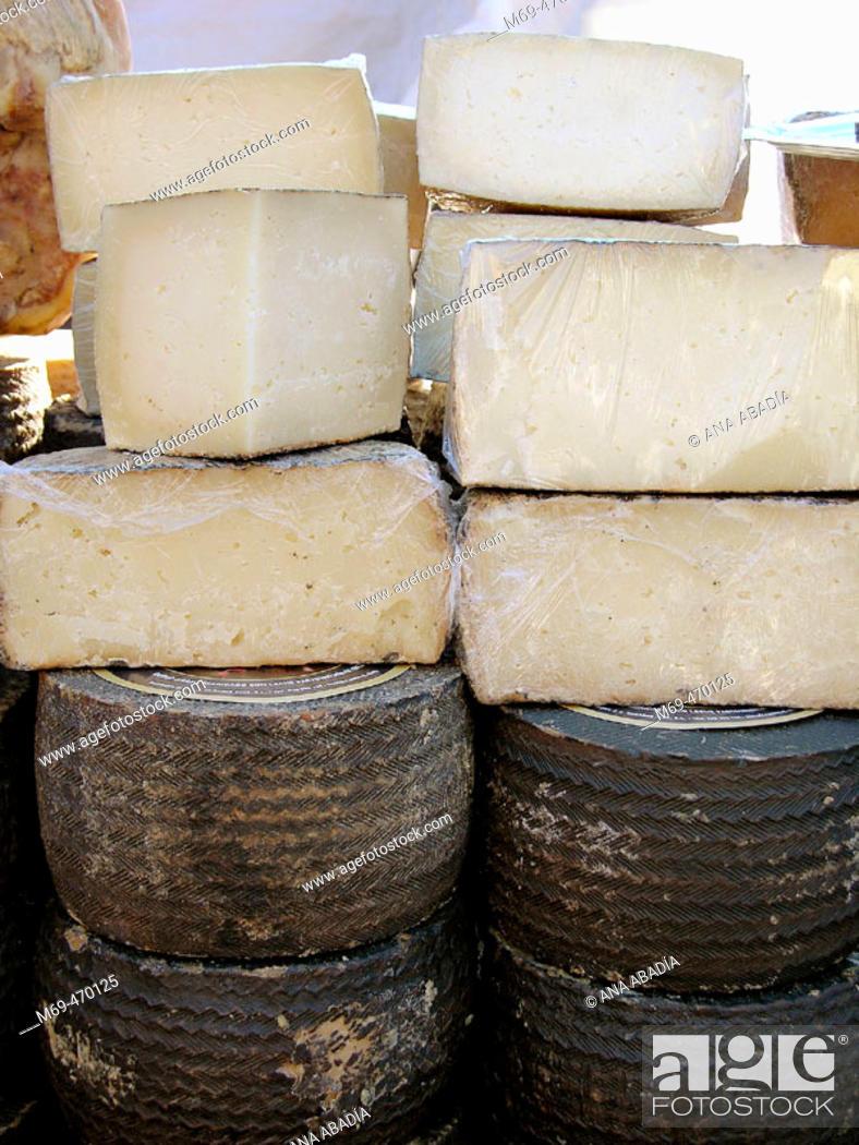 Stock Photo: Cheeses for sale. Fira Avícola Raça Prat, El Prat de Llobregat, Barcelona province, Catalonia, Spain.