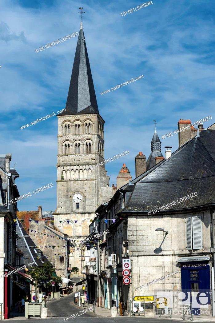 Stock Photo: Europe, France, Nievre region, La Charite sur Loire, Notre Dame Cathedral.