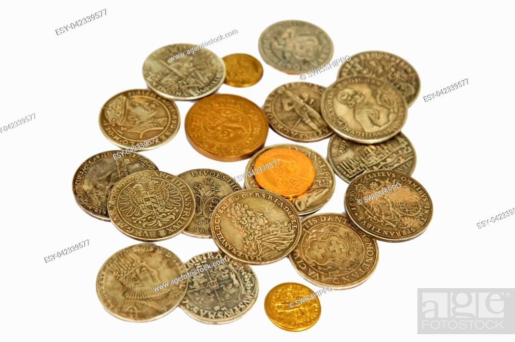 Photo de stock: Collection of the medieval coins on the white background.