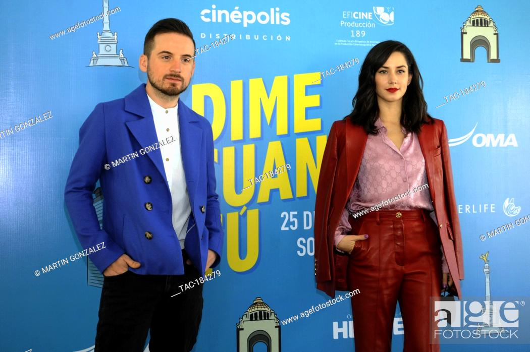 Stock Photo: MEXICO CITY, MEXICO ñ DECEMBER 14: Jesus Zabala  and Ximena Romo during the press conference for the movie ëDime Cuando Tuí on December 14 2020 in Mexico City.