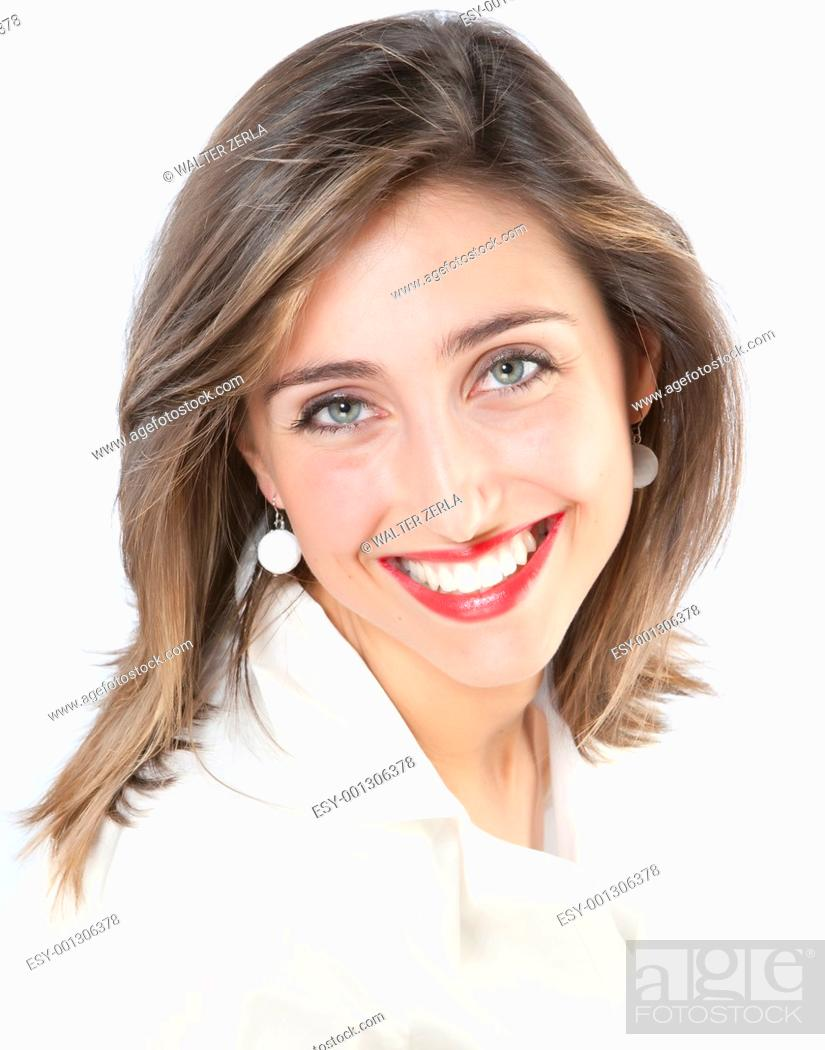 Stock Photo: Closeup portrait of a happy young woman smiling isolated on white background.