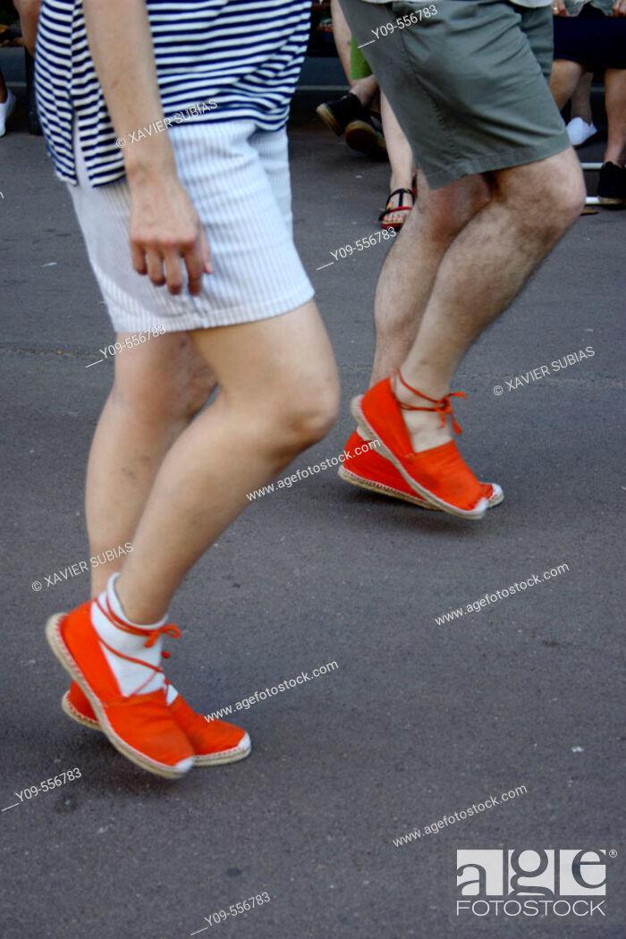 Stock Photo: Dancing 'sardanes' (traditional Catalan dance). Catalonia, Spain.
