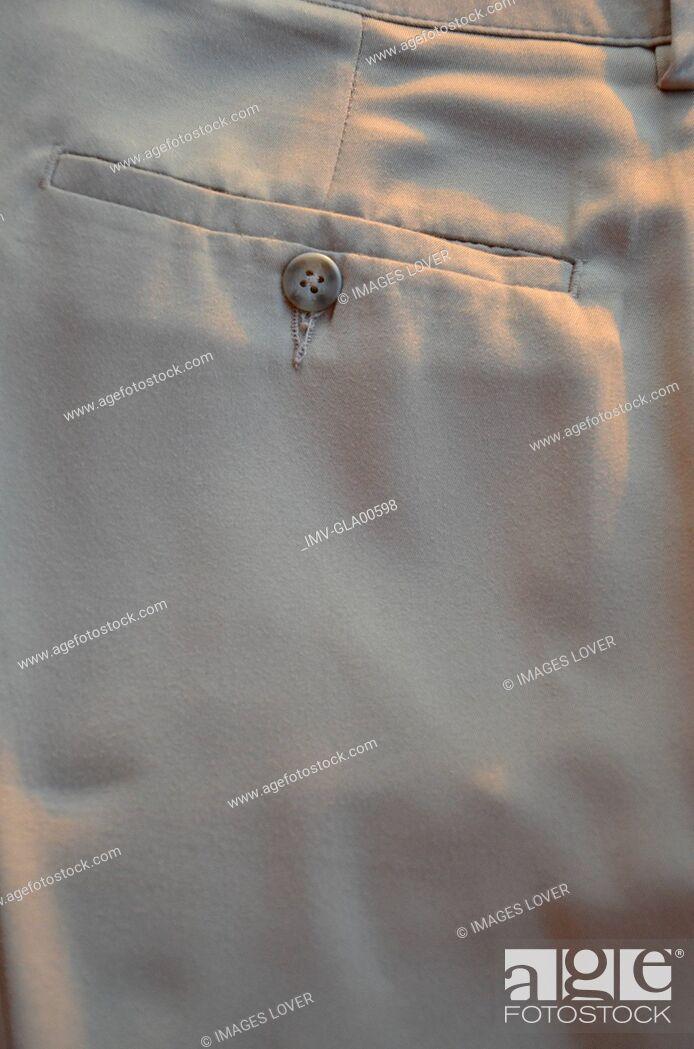 Stock Photo: Pants pocket, rear view, close-up.