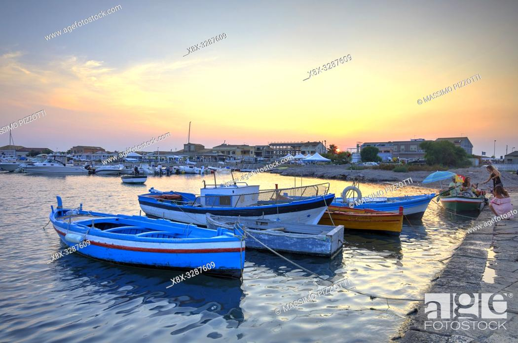 Stock Photo: The little port of Marzamemi at sunset, Province of Syracuse, Sicily, Italy.