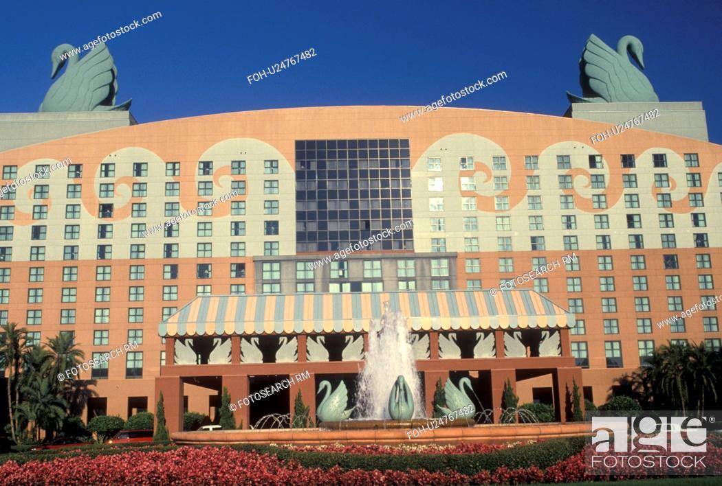 Stock Photo: hotel, Disney World, Orlando, FL, resort, Lake Buena Vista, Florida, Walt Disney World Swan Hotel in Lake Buena Vista.