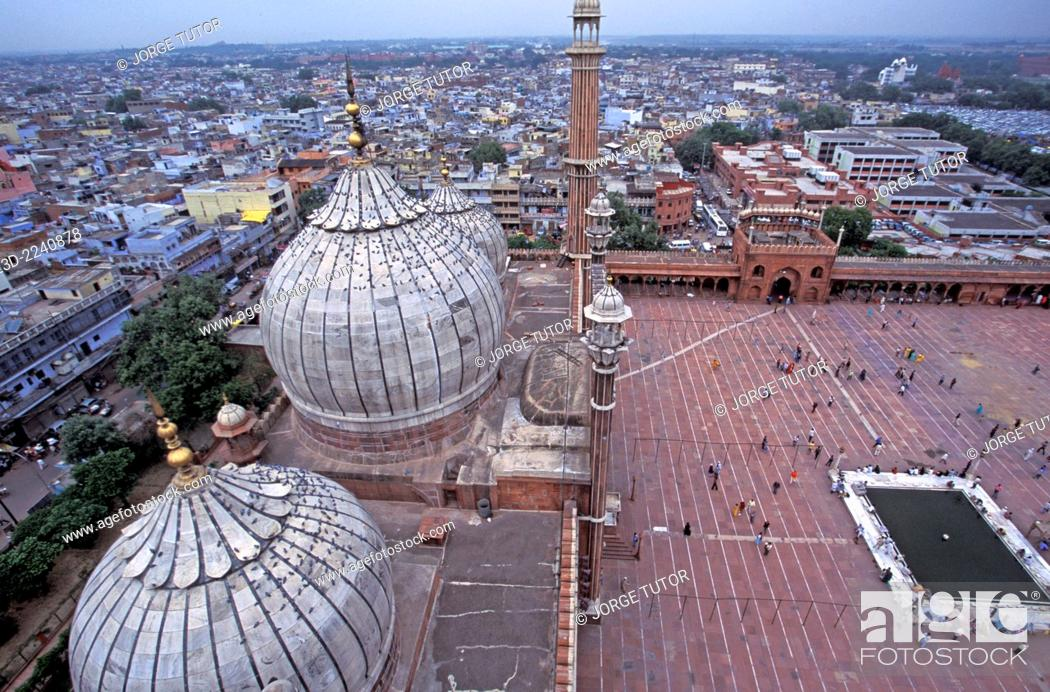 Stock Photo: View from a minaret of The Masjid-i Jahan-Numa mosque, commonly known as the Jama Masjid in Old Delhi.