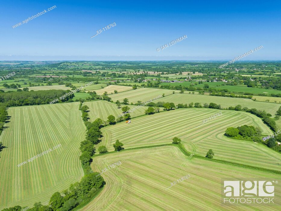 Stock Photo: Aerial view of summer grass silage fields, farmland and country landscape.