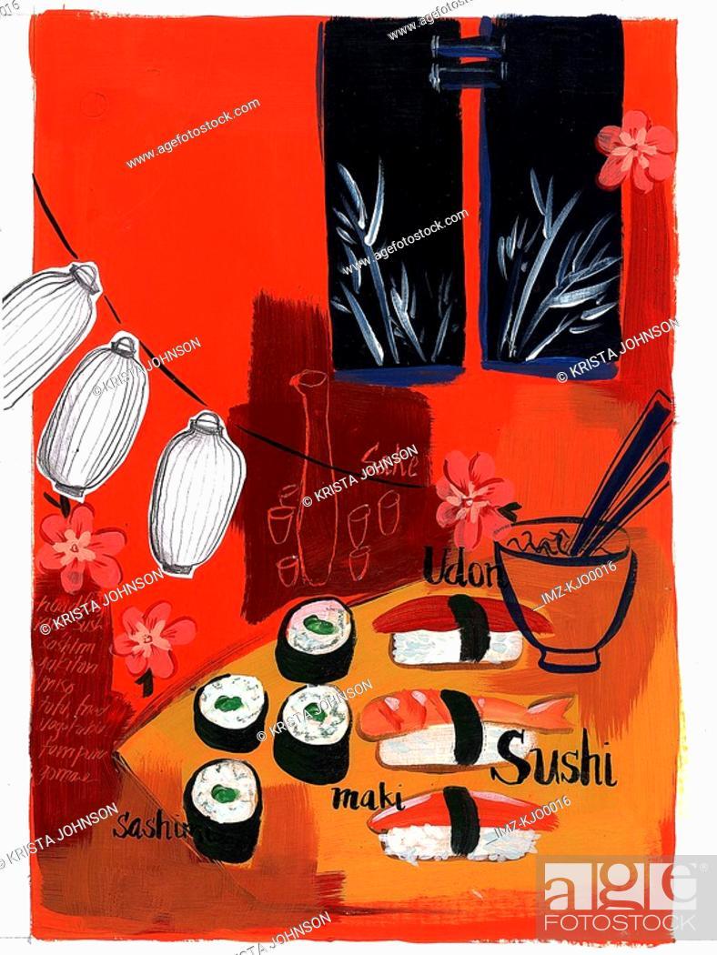 Stock Photo: sushi lanterns.