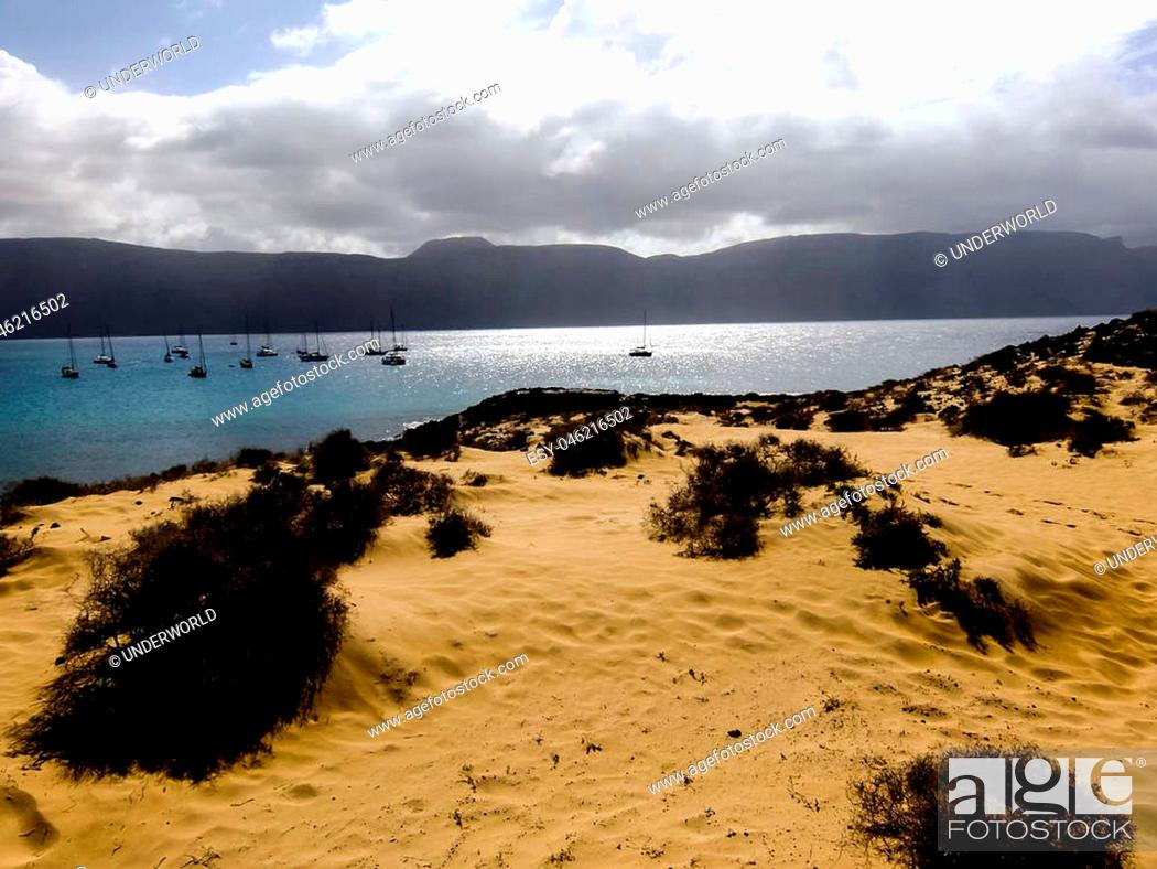 Stock Photo: Spanish View Landscape in La Graciosa Lanzarote Tropical Volcanic Canary Islands Spain.