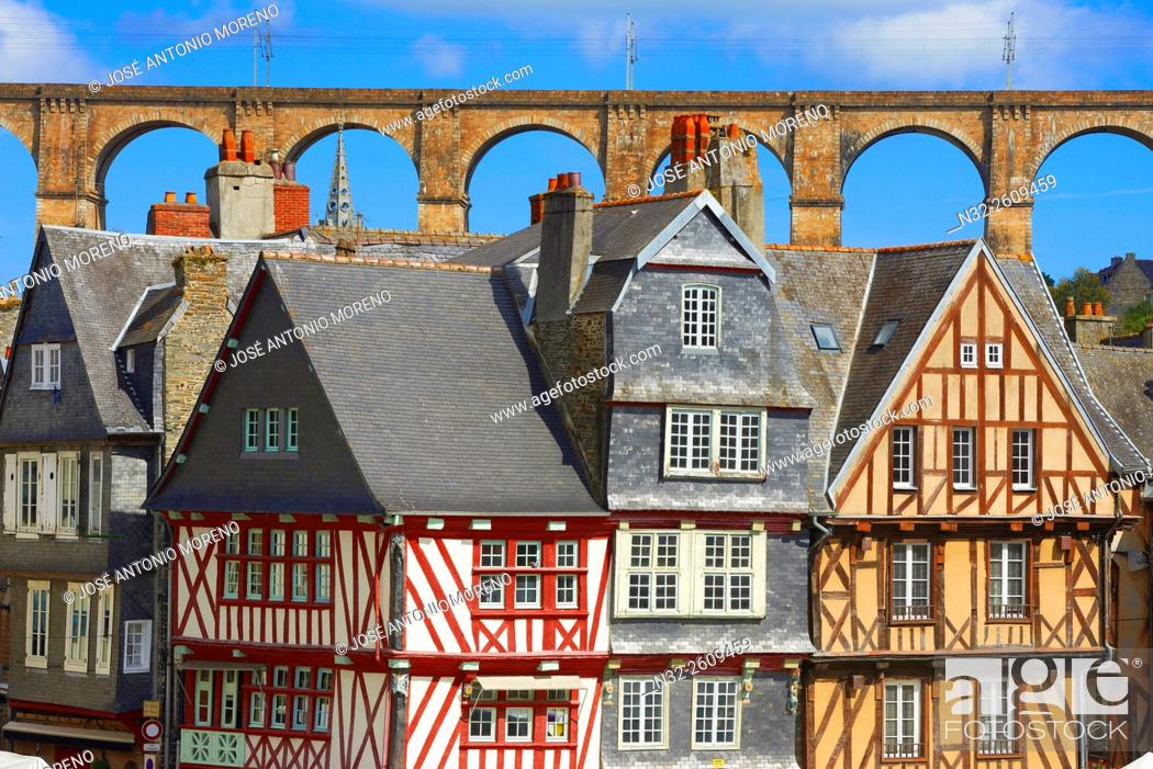 Stock Photo: Morlaix, Half Timbered Houses, Old Town, Bretagne, Brittany, Finistere, France, Europe.