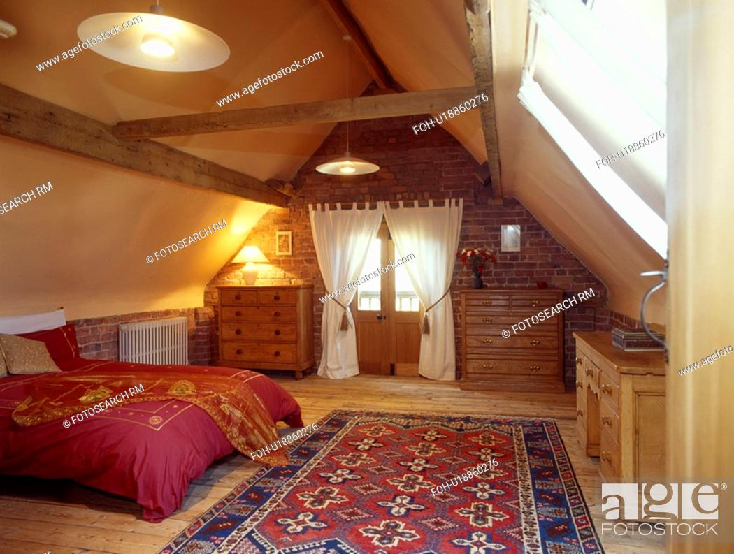Stock Photo Blue Red Oriental Rug On Wooden Floor In Large Attic Bedroom With White Curtains And Duvet