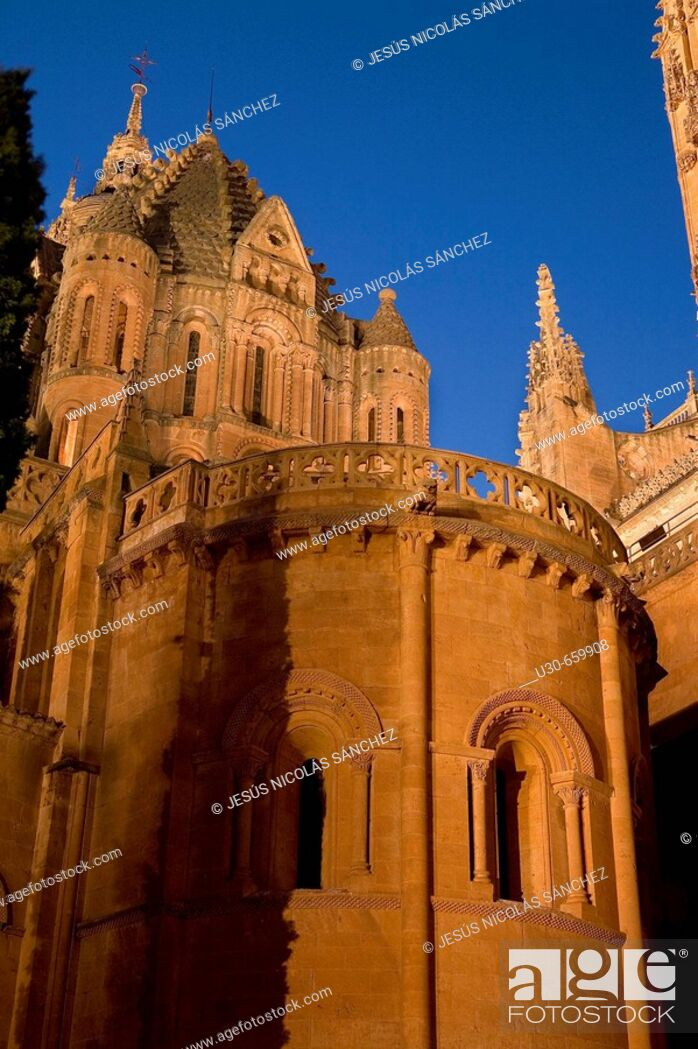 Stock Photo: Catedral Nueva ('new cathedral') and  Catedral Vieja ('old cathedral'). Salamanca. Castilla-León, Spain.