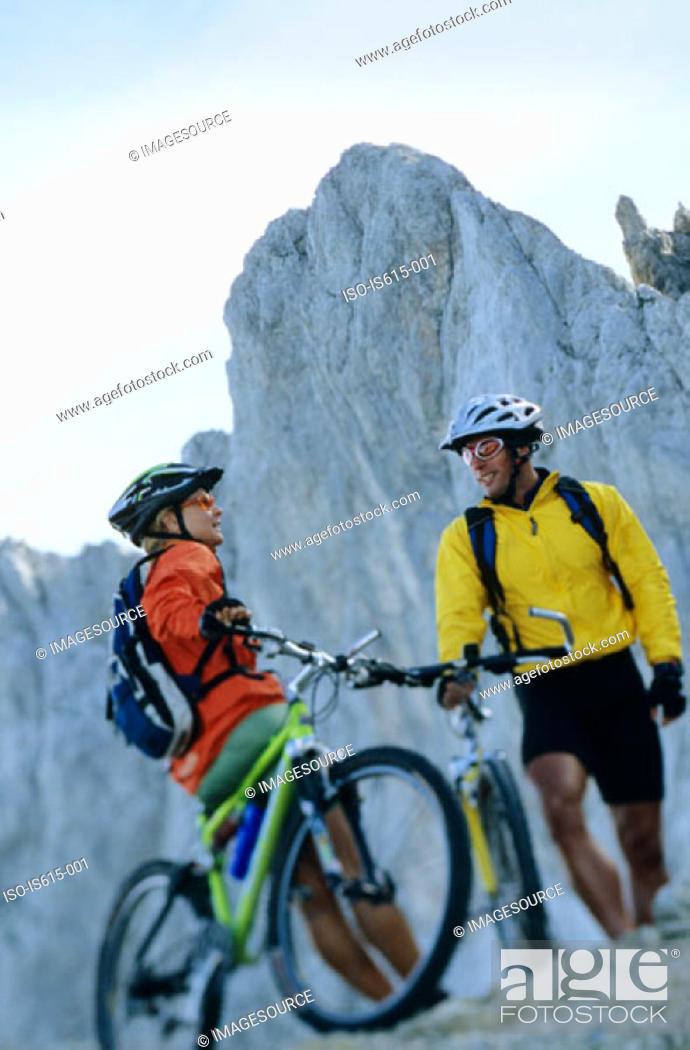 Stock Photo: Cyclists taking a break.