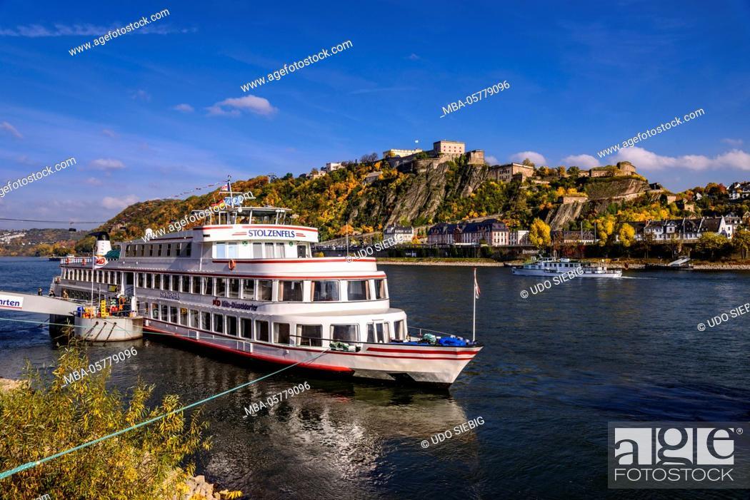 Stock Photo: Germany, Rhineland-Palatinate, upper Middle Rhine Valley, Koblenz, Rhine shore with Ehrenbreitstein Fortress.