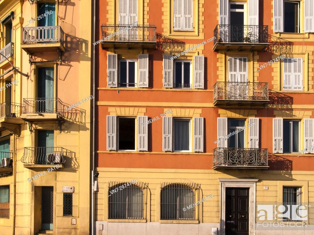 Stock Photo: Colourful exterior of buildings, Nice, Cote d'Azur, France, Europe.