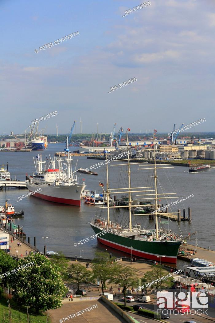 Stock Photo: The museum ships Rickmers Rickmers and Cap San Diego on the Elbe River, Hamburg, Germany.