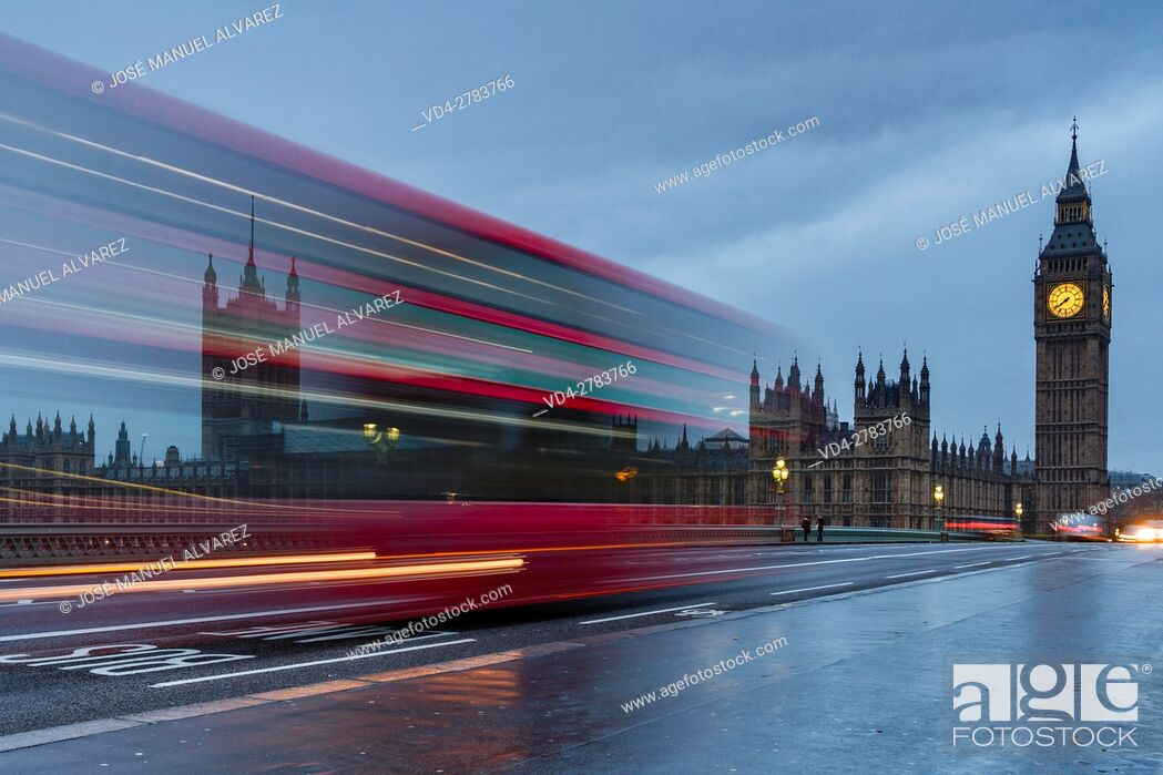 Stock Photo: Big Ben, Palace of Westminster and typical bus. London, United Kingdom.