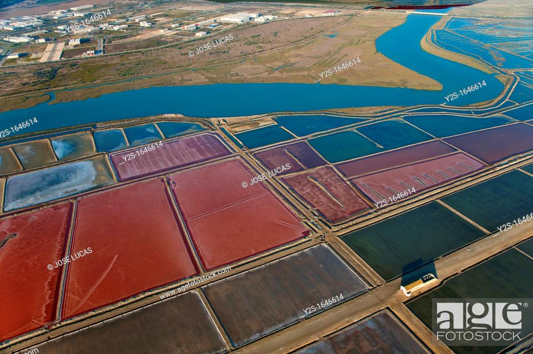 Stock Photo: Aerial view of saltworks and Guadalete river, El Puerto de Santa Maria, Cadiz-province, Spain.
