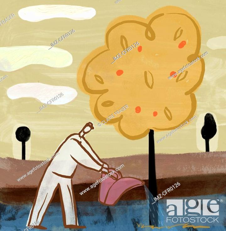 Stock Photo: A drawing of a man watering a fruit tree.