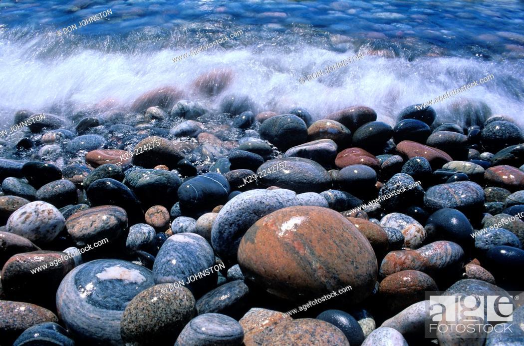 Stock Photo: Pebble beach on Lake Superior, Marathon, Ontario, Canada.