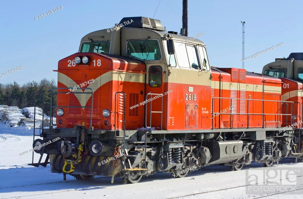 Stock Photo: Cargo train at station Finland Europe.