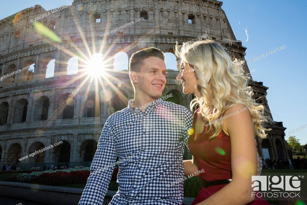 Stock Photo: Couple at the Roman Colosseum in Rome Italy.