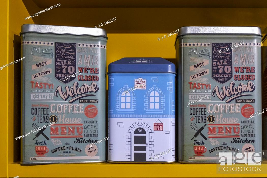 Stock Photo: Coffee boxes. Tin boxes.
