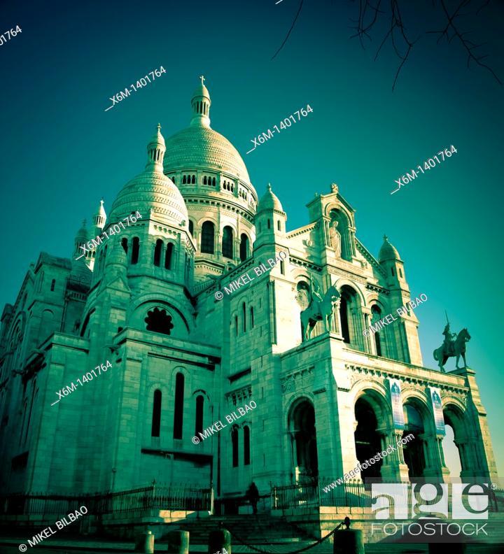 Stock Photo: The Sacre-Cœur Basilica  Montmartre  Paris, France, Europe.