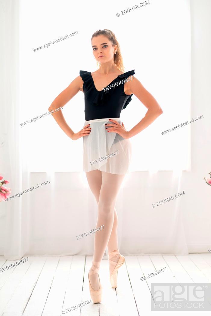 Stock Photo: Portrait of a beautiful girl ballerina.