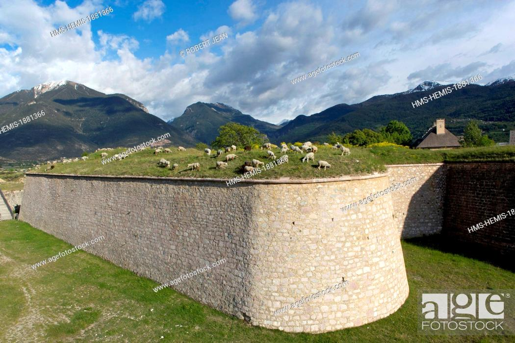 Stock Photo: France, Hautes Alpes, Mont Dauphin castle built by Vauban in 1693, listed as World Heritage by UNESCO.
