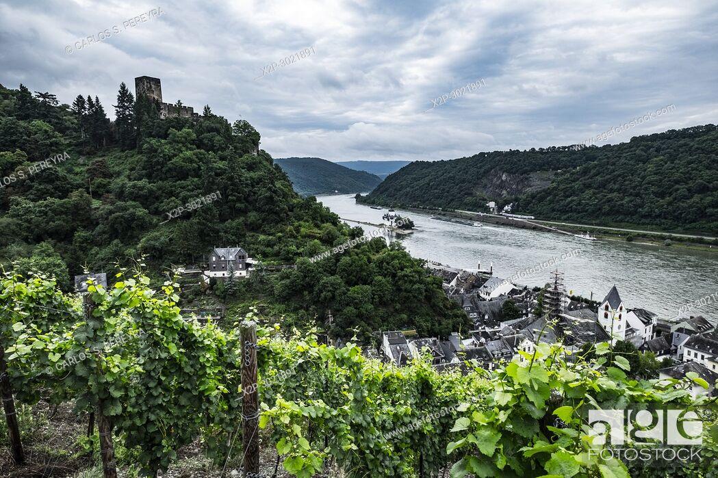 Stock Photo: Gutenfels Castle near Kaub, Rhineland-Palatinate, Germany, Europe.