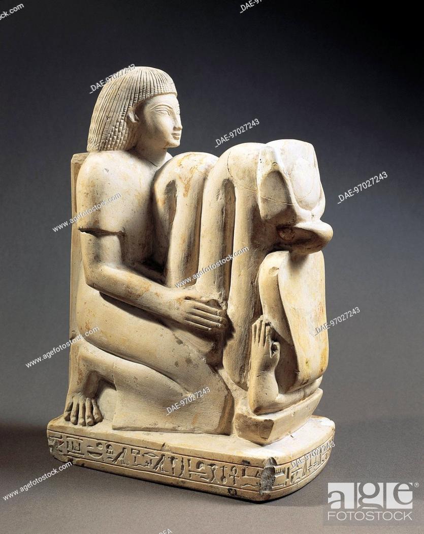 Stock Photo: Egyptian civilization, New Kingdom, Dynasty XVIII. Limestone statue of Setau, overseer of the storehouse of the Temple of Amon with Nekhbet cobra.
