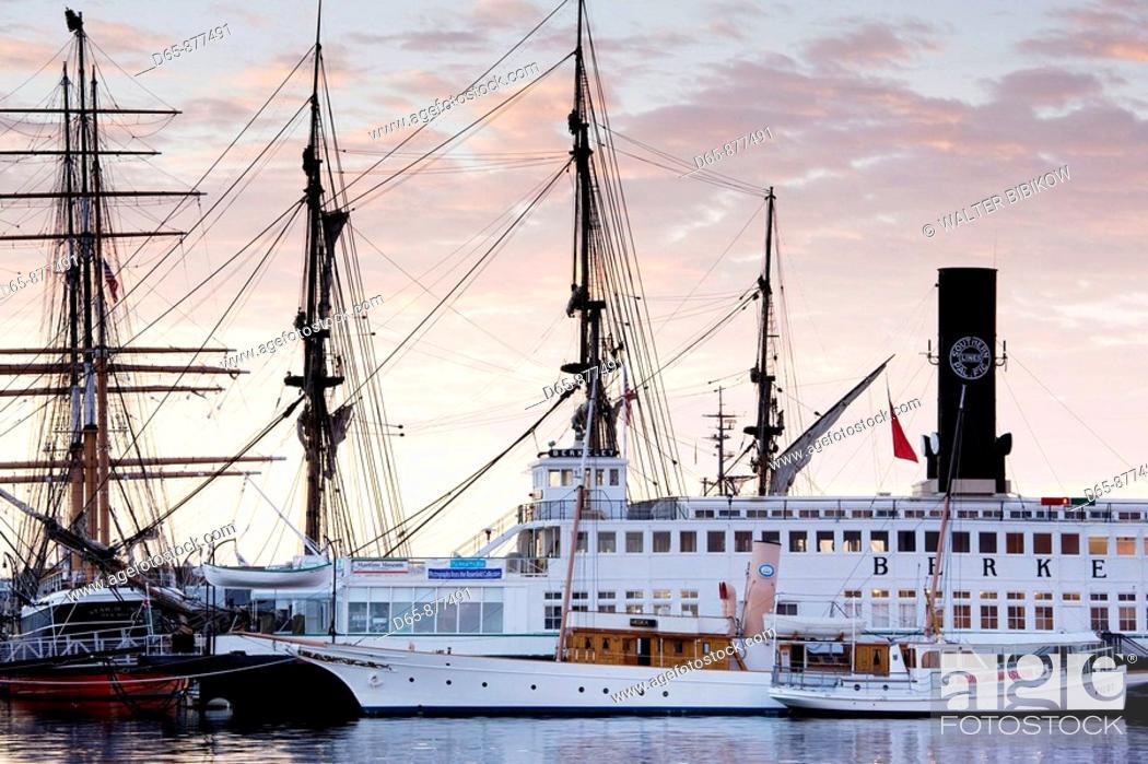 Stock Photo: San Diego Maritime Museum at dawn, San Diego, California, USA.