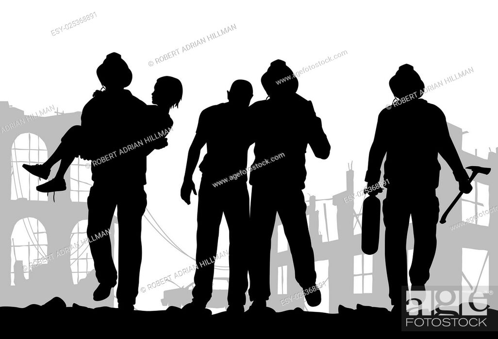 Stock Vector: Vector illustration of firefighter silhouettes rescuing people from a fire disaster.