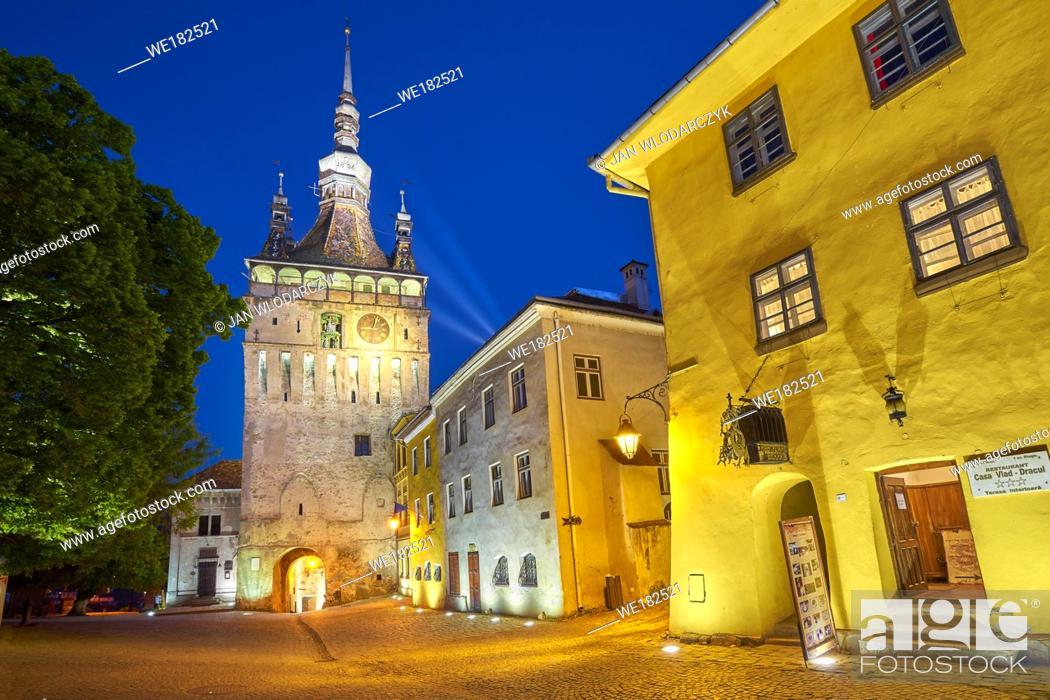 Stock Photo: Clock Tower, old town Sighisoara at evening, Transylvania, Romania.