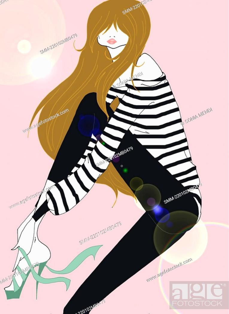 Stock Photo: Young woman tying high heel shoe on.
