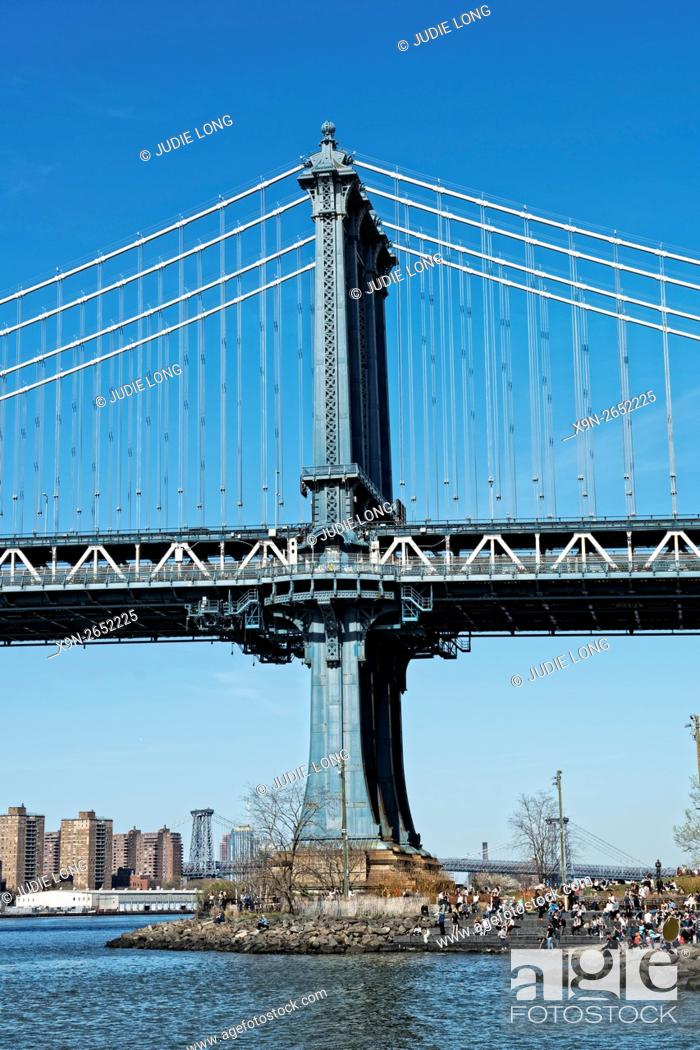 Stock Photo: Partial View of the Manhattan Bridge, looking north from Dumbo Brooklyn, New York, USA.