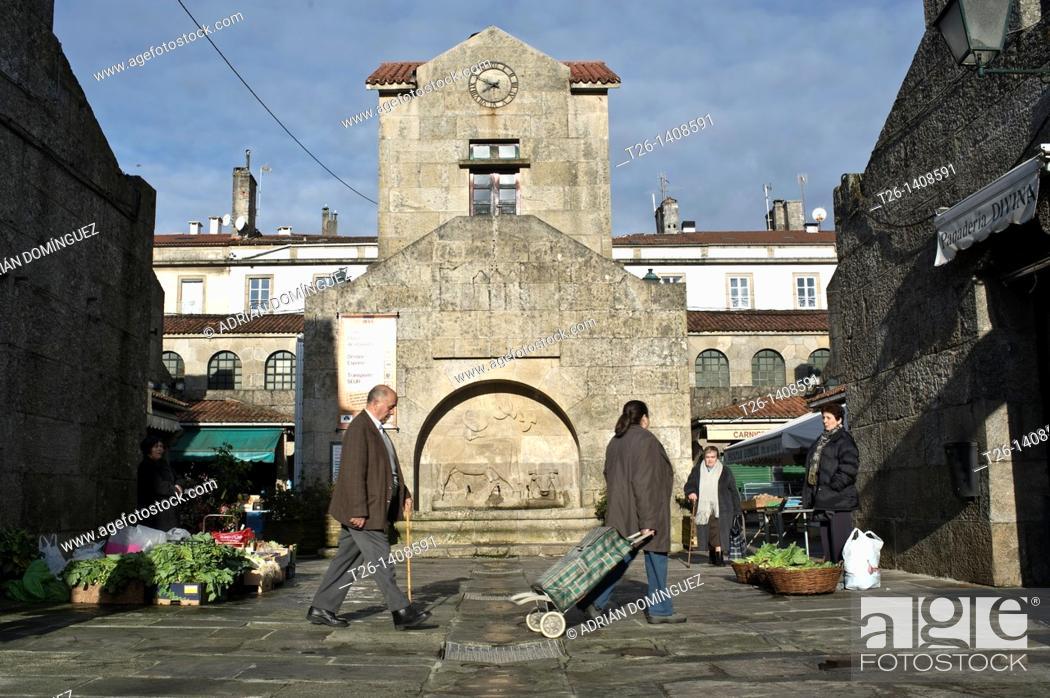 Stock Photo: Market of Santiago de Compostela. Galicia, Spain.