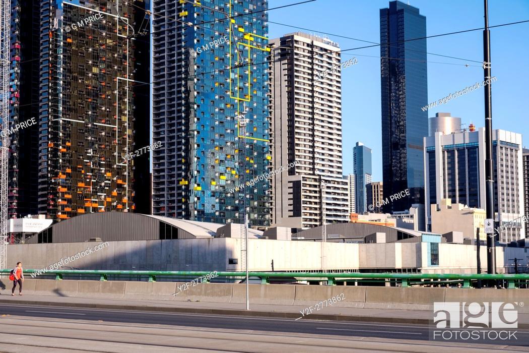 Stock Photo: city corporate buildings from La Trobe Street, Melbourne.