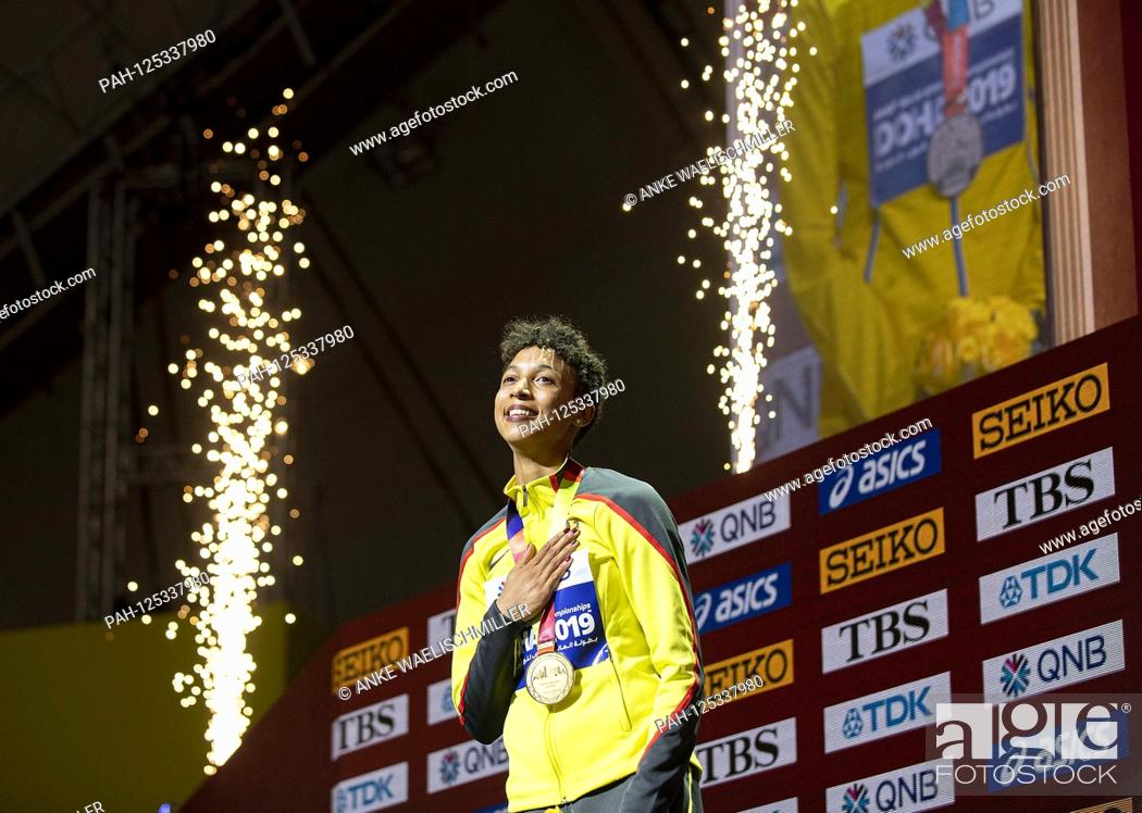 Stock Photo: Winner Malaika MIHAMBO (Germany / 1st place) with medal, gold, gold medal. Awards ceremony Women's Long Jump, on 06.10.2019 World Championships 2019 in Doha /.