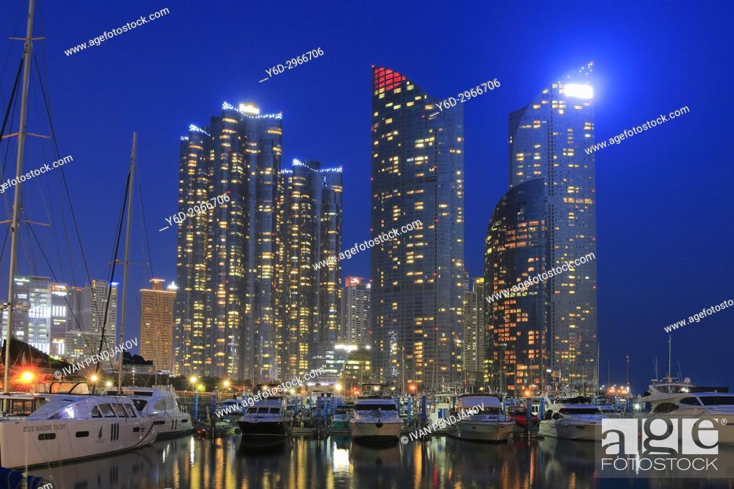 Stock Photo: Marine City at Dusk, Busan, South Korea.