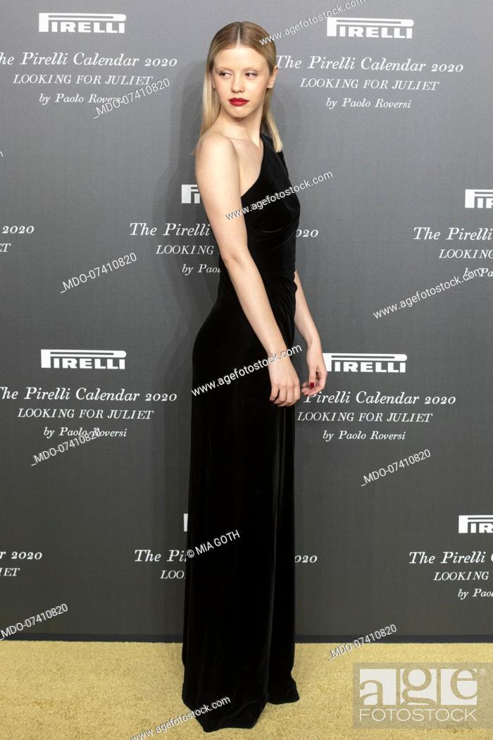 Stock Photo: British actress Mia Goth during the presentation of the Pirelli 2020 Calendar at the Verona Philharmonic Theater. Verona (Italy), December 3rd, 2019.