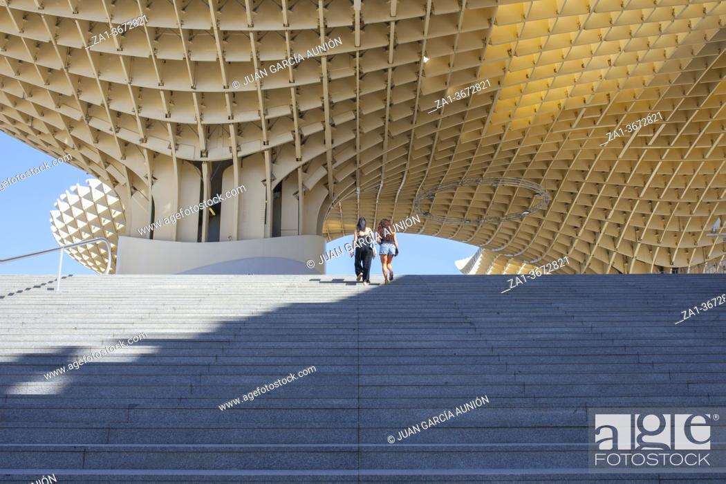 Stock Photo: Space Metropol Parasol or Setas de Sevilla at Encarnacion Square, Andalusia, Spain.