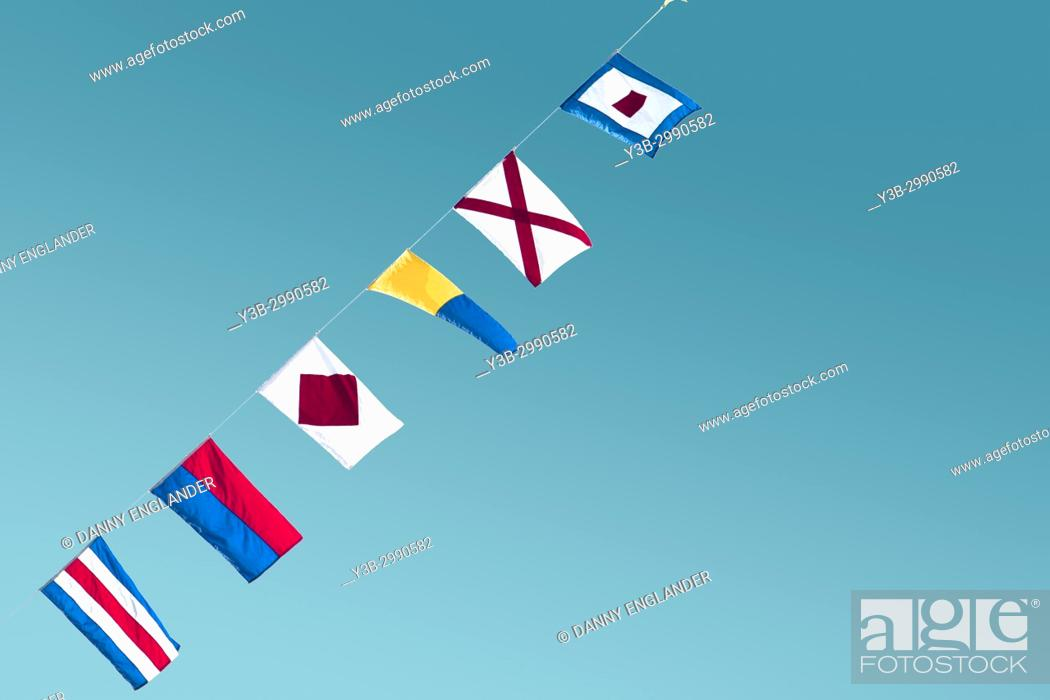 Stock Photo: Minimalist and colorful view of maritime signal flags.