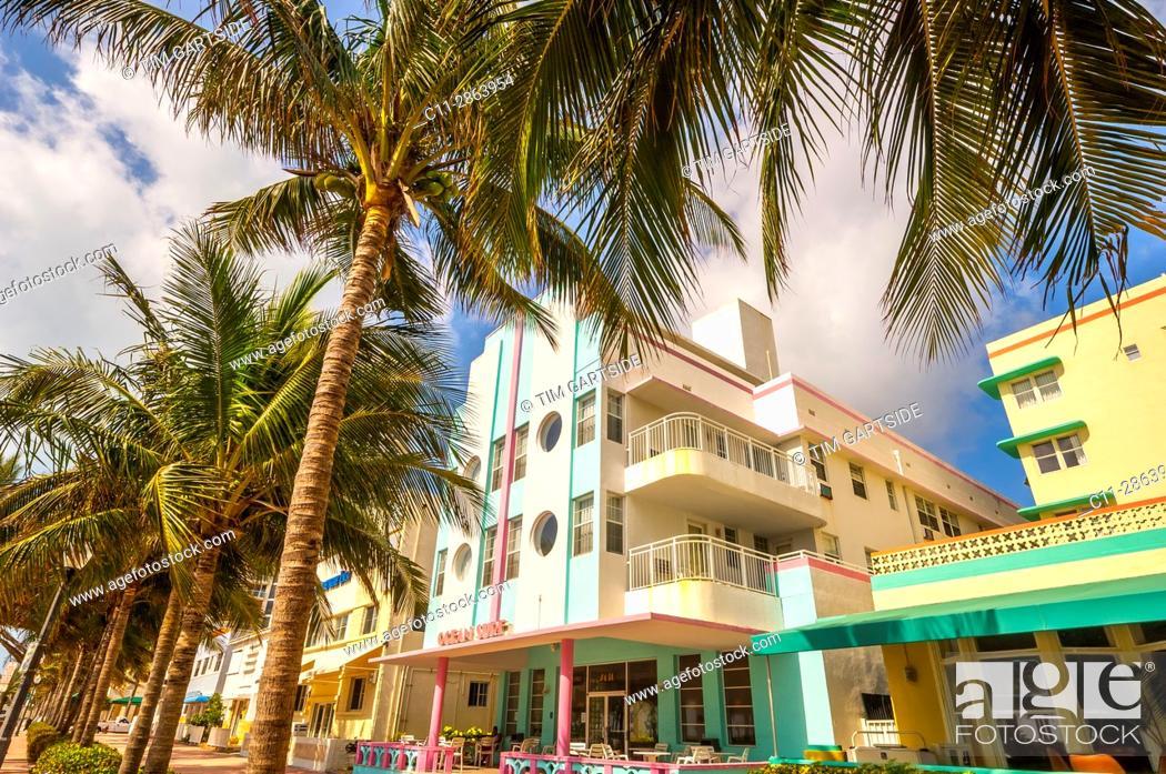 Stock Photo: ocean surf Hotel, South Beach, Ocean Drive, Miami, Florida, USA.