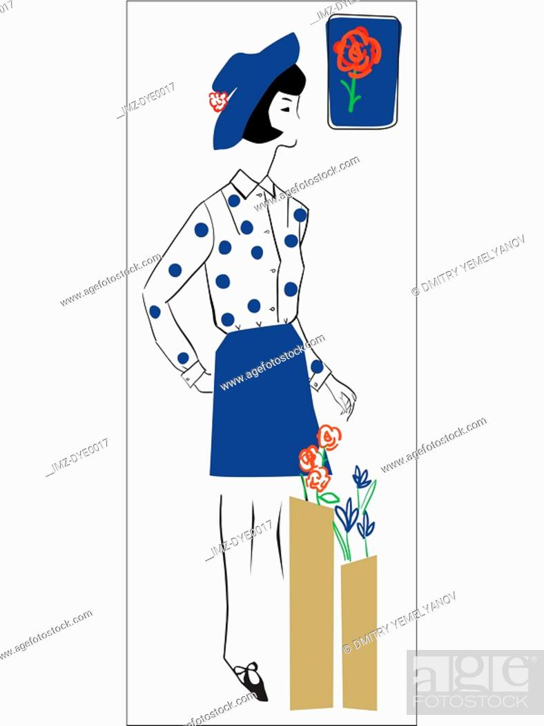 Stock Photo: A retro inspired illustration of a female florist.