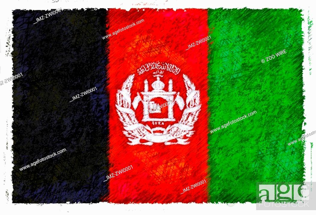 Stock Photo: Flag of Afghanistan.