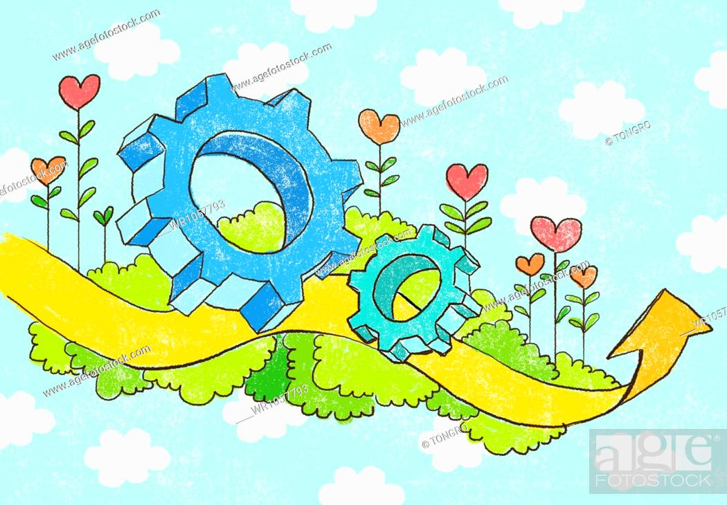 Stock Photo: illustration of gears and arrow in the sky.