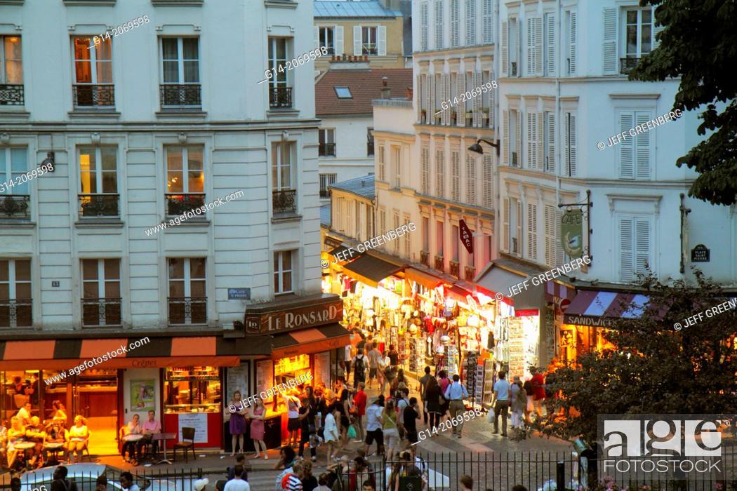 Stock Photo: France, Europe, French, Paris, 18th arrondissement, Montmatre, Place Saint St. Pierre, Rue de Steinkerque, view from Square Louise Michel, night, nightlife.
